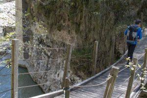 Ponticello di legno sul torrente Leno, sentiero dei Pintareni